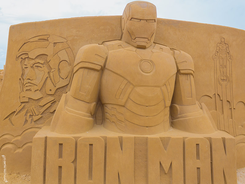 Sculpture de Sable Iron Man à Ostende
